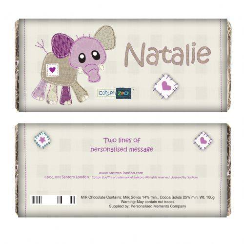 Personalised Cotton Zoo Wynciette the Elephant Chocolate Bar